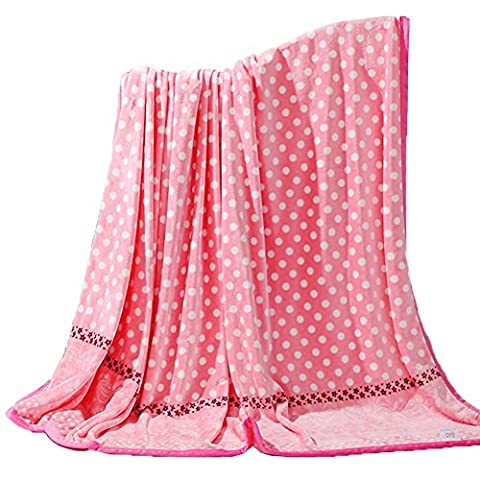 ShineMoon Home Textiles Indoor/Outdoor Baby Fleece Blankets Pink with Dots Pattern Sofa Couch Cover Bed Sheet Twin/Full/King Size, 180x200cm