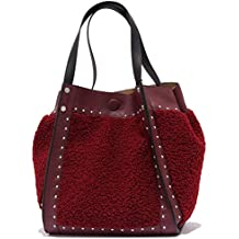 MARELLA 8375Y 2 IN 1 borsa donna LASTRA bordeaux eco leather eco fur woman 674804291a5