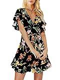 Terryfy Damen Minikleid Sexy Kurzarm V-Ausschnitt Boho Blumen Rüschen Kurz Kleid Strandkleid Schwarz