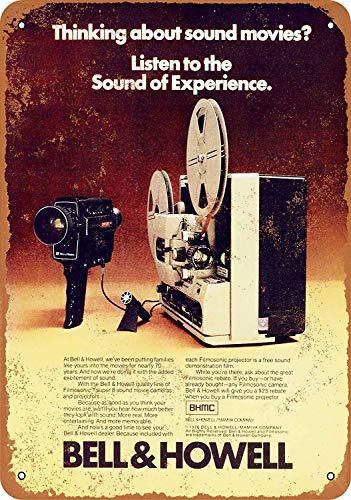 Toddrick Bell & Howell Sound Movies Zinn schicke Zeichen Vintage-Stil Retro Küche Bar Pub Coffee Shop Dekor 8
