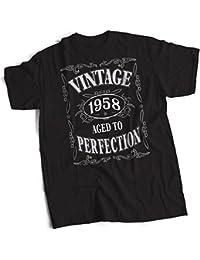 bybulldog® Vintage 1958 Aged To Perfection 60th Birthday Present Gift Mens Premium Black T-Shirt Small to 3XL