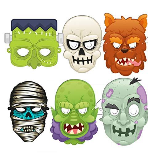 Monster Schädel Maske - NUOBESTY 6pcs Halloween furchterregende Maske Schädel-Geist-Monster-Kostüm