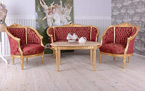 BAROCKE SITZMÖBEL GARNITUR Sofa Sessel KÖNIGLICHES Rot Palazzo Exclusiv
