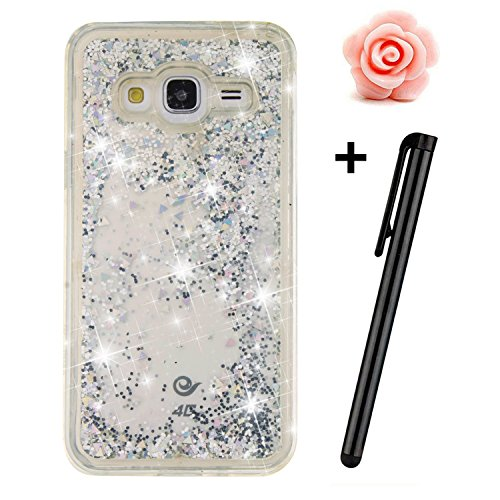 Samsung Galaxy J3 Glitter Case,TOYYM Transparent Clear Floating Sparkle Bling Glitter Case for Samsung Galaxy J3,3D Creative Funny Cute Moving Silver Love Hearts Star Design Tpu Protective Shell Case Cover for Samsung Galaxy J3 (2016) J310 Test