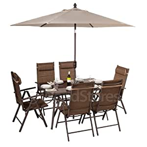 Malta 6 Seater Garden Rectangular Table and Chairs Set Tweed with Parasol
