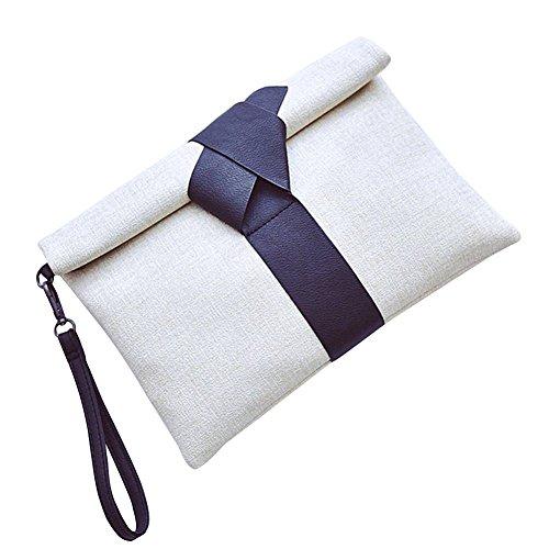 Badiya, borsetta da donna, in tela, elegante, a busta, con laccetto e tracolla White