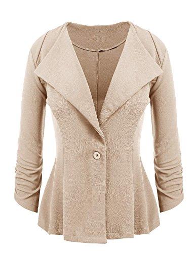 Chigant Damen Blazer Taillierte Kurze Elegante 3/4 Ärmel Jacke Business Anzug Casual Büro Mäntel mit Knopf (Knöpfe Anzug Ärmel)