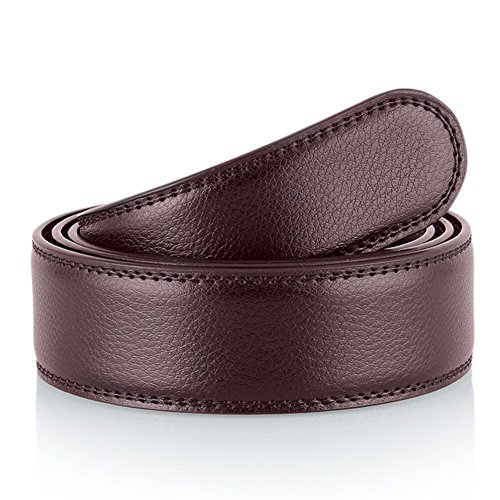 Nelbons Hombre Cinturón-Cuero Automática Cinturón De sin hebilla Cinturón de trinquete 35 mm 1 3/8' (N5, 130cm/28-44' cintura ajustable)