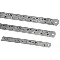 3pcs 45,7cm + 30,5cm + 15,2cm in acciaio INOX righello riga in metallo Kit con tabella di conversione segnato dritto misura righelli per uso ufficio & educativo