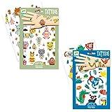 Djeco Tattoo Set für Coole Kids/Kindertattoo / Tattoo Set Buntes Design für Kinder ab 3 Jahre/Spielen