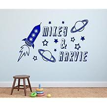 Personalizada Rocket & Planetas y estrellas pared vinilo adhesivo decorativo 4Tamaños & 16Colores–kids29, 3 - Large 80 x 50 cm