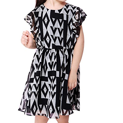 NACHEN Mädchen Chiffon Kleid Schmetterling Ärmel Kleid Rock Taille Kleid , black , (Superhelden Monate 18 Kostüme Alte)