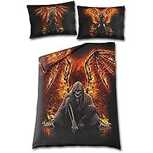 Spiral Gothic Bettwäsche Sensenmann und Feuer - Flaming Death Wendebettwäsche - mit EU und UK Kissenbezug 135x200 + 80x80 und 75x50 cm