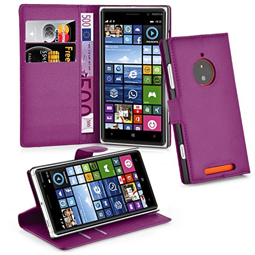 Cadorabo Étui de Protection pour Nokia Lumia 830 Mangan avec Compartiment pour Cartes et Fonction Support Violet