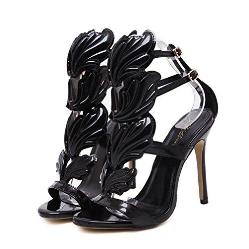 UFACE Volltonfarbene MetallflüGel Mit Offenen High Heels Mode Frauen Pumpen Blatt Flamme Heel Schuhe Sexy Peep Toe Sandalen (38, ()