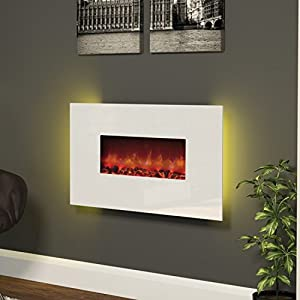 BeModern Cortona Wall Mount Electric Fireplace with White Glass Front��