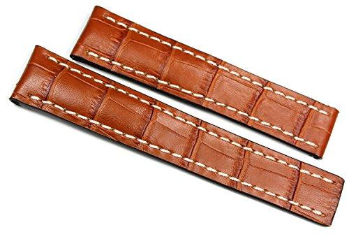 RIOS1931 22 mm/20 mm Reloj de pulsera correa de piel auténtica hecha cocodrilo en relieve cinta color marrón coñac para cierre desplegable. Apta para Breitling Alemania imitación cocodrilo.
