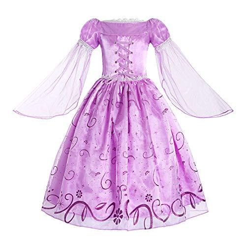 Lila Kostüm Belle - ReliBeauty Mädchen Prinzessin Rapunzel Kleid, Lila, 140-146(Etikett 150)