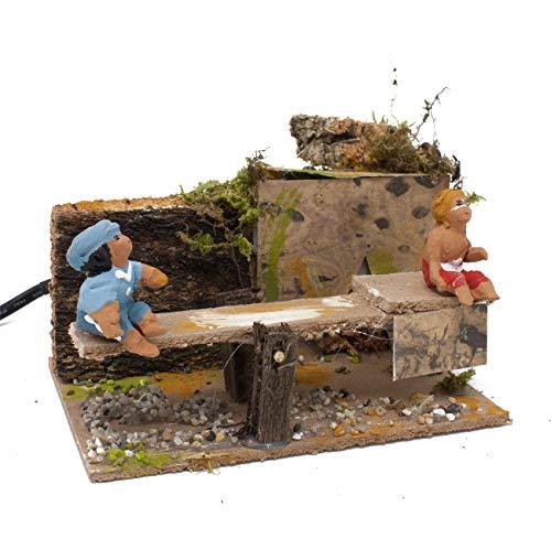 Joy christmas pastore per presepe in movimento 14 cm x 9 bambini su dondolo 48700