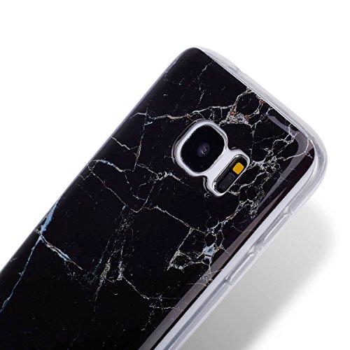 Coque Galaxy S7, Étui Galaxy S7, ISAKEN Coque Samsung Galaxy S7 - Étui Housse Téléphone Étui TPU Silicone Souple Coque Ultra Mince Gel Doux Housse Motif Arrière Case Antichoc Doux Durable Résistant Au marbre: noir