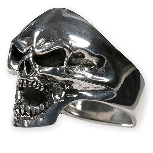 Fly Style® Herren-Ring Edelstahl 29 Designs Totenkopf Freimaurer Templer Band risstmix002, Ring Grösse:22.0 mm, Modell:Scary Skull Gothic Halloween