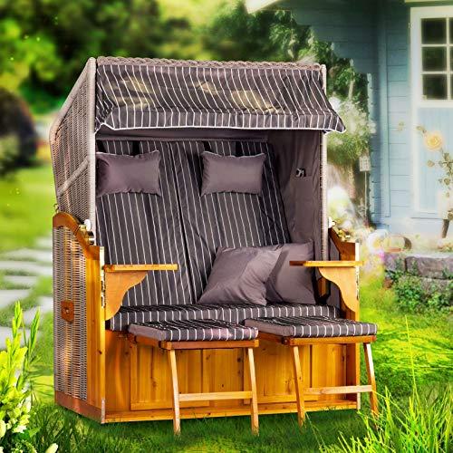 Strandkorb Ostsee Deluxe XXL Volllieger 2 Sitzer - 127 cm grau zerlegt inklusive Schutzhülle, ideal für Garten und Terrasse