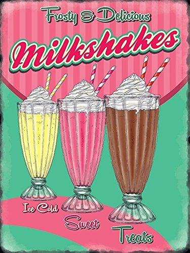 Frosty y delicious Milkshakes Ice cold Sweet Treats Vanilia. fresa. Chocolate. De alto vidrio,rematados con crema y servido con un paja de. 50's. Clásico,retro anuncio casa,hogar,cocina - acero, 9 x 6.5 cm (Imán)