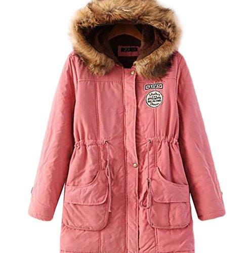 Baymate Damen Winter Parka Übergangsjacke Dicke Wintermantel Kapuze Mit Tasche Pfirsich Pink