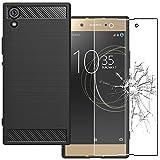 ebestStar - Sony Xperia XA1 Hülle XA1/Dual (2017) Kohlenstoff Design Schutzhülle, TPU Handyhülle Flex Silikon Case, Schwarz + Panzerglas Schutzfolie [Phone: 145 x 67 x 8mm, 5.0'']