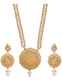 Zeneme Maa Lakshmi Traditional Gold Plated Long Necklace Set/Jewellery Set With Earring For Women