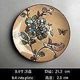 YUWANW Retro- Art Und Weise Handbemalte Keramik-Schale Western Steak Teller Im Europäischen Stil Dessert Home Plate Platte Kreativ Dekoratives Hanging, Retro Blauer 8,7-Zoll