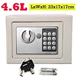 Safe Box 23 x 17 x 17 cm Sicherheit Stahl Digital Electronic Cash Safety Box Offenes Feuer Zwei Schlüssel Pin-Nummer Code für Home Office Store Easy Installation (Weiß)