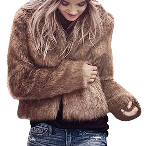 Hirolan Fake Fur Mantel Damen Winter Warm Mantel Lange Hülse Oberbekleidung Mode Weste Jacke Damen Luxus ParkaTop Kleidung Wintermantel Parka Coat mit Pelzkapuze Schwarz Braun Weiß (S, Braun) -