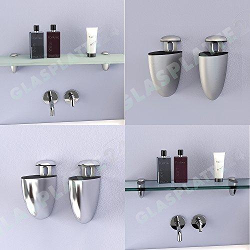 DURAFURN® Glasablage Glasregal Spiegelablage Badablage Wandhalter Wandregal Duschablage in 8mm als Variante klares Glas mit Edelstahlhalter 700 x120