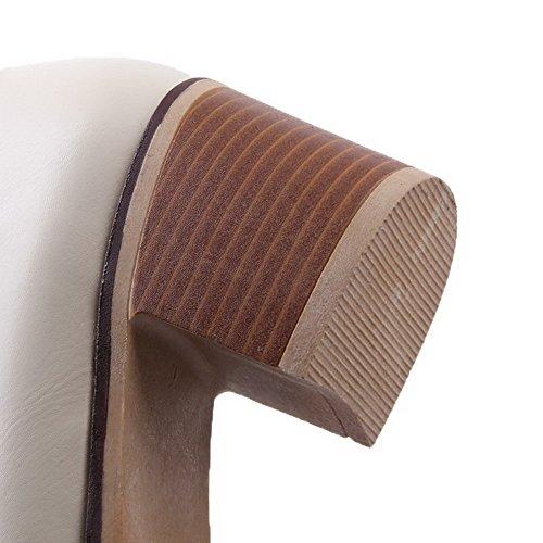VogueZone009 Femme Couleur Unie Lacet Rond à Talon Correct Chaussures Légeres Beige