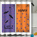 Randell Bathroom Shower Curtain Trick Treat Halloween Party Waterproof Fabric Shower Curtain 60(W) X 72(L) Inches For Men Women Kids