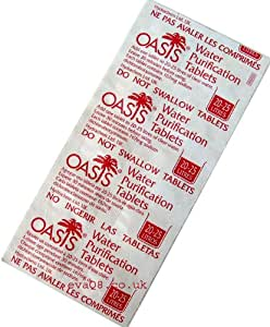 Oasis comprimés de purification d/'eau 8.5 mg 100 pilules British Army Issue 10 bandes