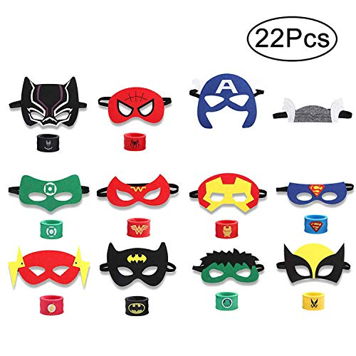 INTVN 12pcs máscaras de superhéroes y 10pcs Superhero Slap Band Pulseras,Accesorio de...