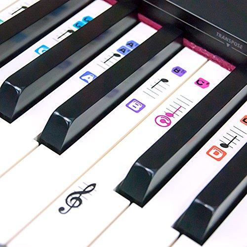 TimberRain Klavier Aufkleber für 49 / 61 / 76 / 88 Tasten, Transparent und abnehmbar Aufkleber für Kinder und Anfänger, mit praktischer Anleitung