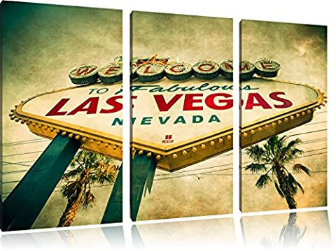 Las Vegas Ortseingangsschild ancienne 3-piece Canvas Art 120x80 image on canvas, XXL huge Pictures completely framed with stretcher, Art print on wall picture with frame, gänstiger as a painting or an oil painting, not a poster or banner