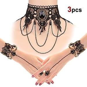 HOWAF Halloween schmuck Damen Mädchen Halskette Choke Gothic Spitze Lolita Halskette Armbänder Set für Party, Veranstaltung, Halloween-Kostüm