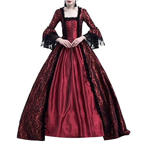 Renendi Damen Kleider Mittelalter Renaissance Queen Ballkleid Glöckchen Ärmel Maxikleid Halloween Kostüm Spitze Rock Cosplay Party Supplies Weinrot xl