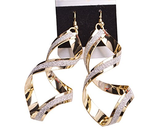 oumosi Lange Baumeln Ohrringe für Damen Vintage Punk Übertreibung Spirale Star vergoldet Silber Gold Lange Ohrringe (Vergoldet-lange Ohrringe)