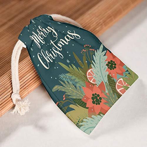 XJJ88 1 per 12 sacchetti natalizi con chiusura a cordoncino, motivo stampato, antipolvere, per regali di San Valentino, Tela, bianco, 20 * 25cm