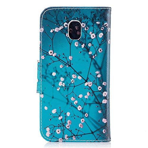 Linvei Samsung Galaxy J7(2017)(Version européenne)Coque,[Conception de Motif Coloré][PU Cuir Housse][Portefeuille Flip][Stand Soutien/Card Slot /Fermeture Magnétique] - Plante tropicale verte Plum Blossom