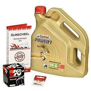 Ölwechselset Castrol Power1 10W-40 Öl + K&N Ölfilter für R 1200 GS/GS Adventure, Bj. 04-13 (Typ K25); Motoröl + Filter + Dichtring