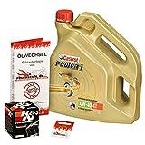 Ölwechselset Castrol Power1 10W-40 Öl + K&N Ölfilter für Honda CBR 1000 RR Fireblade, Bj. 04-07 (Typ SC57); Motoröl + Filter + Dichtring
