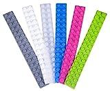 """Strictly Briks Kreatives Baustein-Set mit Streifen/Verbindungsstücken aus Silikon - Kompatibel mit Allen Führenden Marken - 2 x 16 Noppen - Verschiedene Farben - Länge 10"""" (25,4 cm) - 6 Stück"""