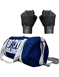 CP Bigbasket Combo Set Polyester 40 Ltrs Blue Sport Gym Duffle Bag,Netted Gym & Fitness Gloves (Black)