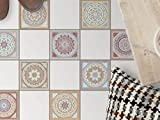 Mosaikfliesen für Boden Fliesen | Aufkleber Folie Sticker für Boden-Fliesen - Küche Oder Bad | Fliesenaufkleber als Alternative zu Fliesenfarbe | 15x15 cm - Design Mosaik Afrika